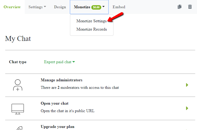 paid click monetize settings