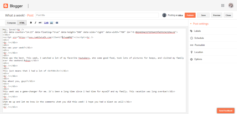 embed a chat room in blogger