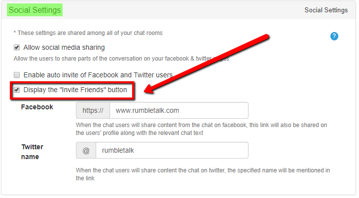 "Personalization of the ""Invite friends"" button in the Social Setting window"